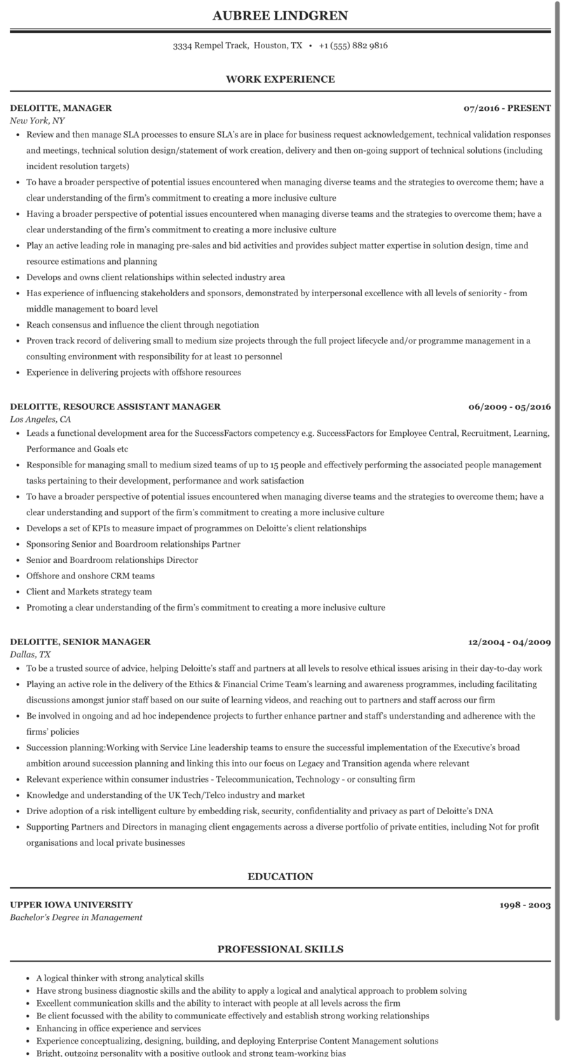 Deloitte manager manager resume senior top critical thinking writer websites gb