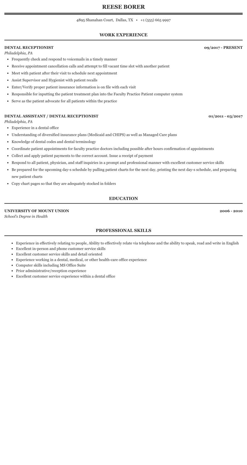 Dental Receptionist Resume Sample Mintresume