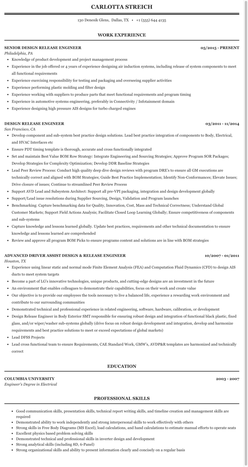 Design Release Engineer Resume Sample Mintresume