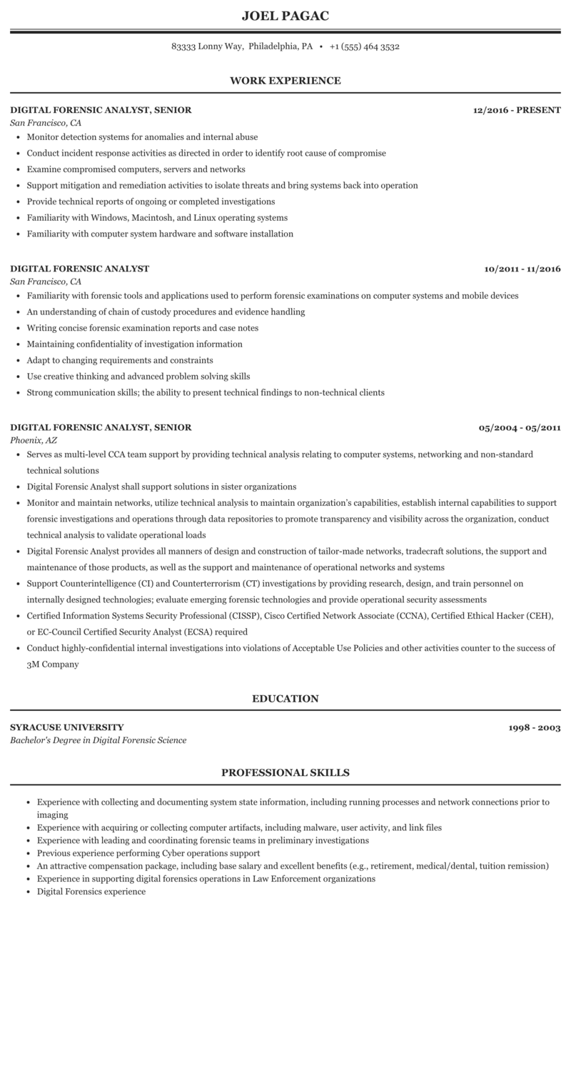 Digital Forensic Analyst Resume Sample Mintresume