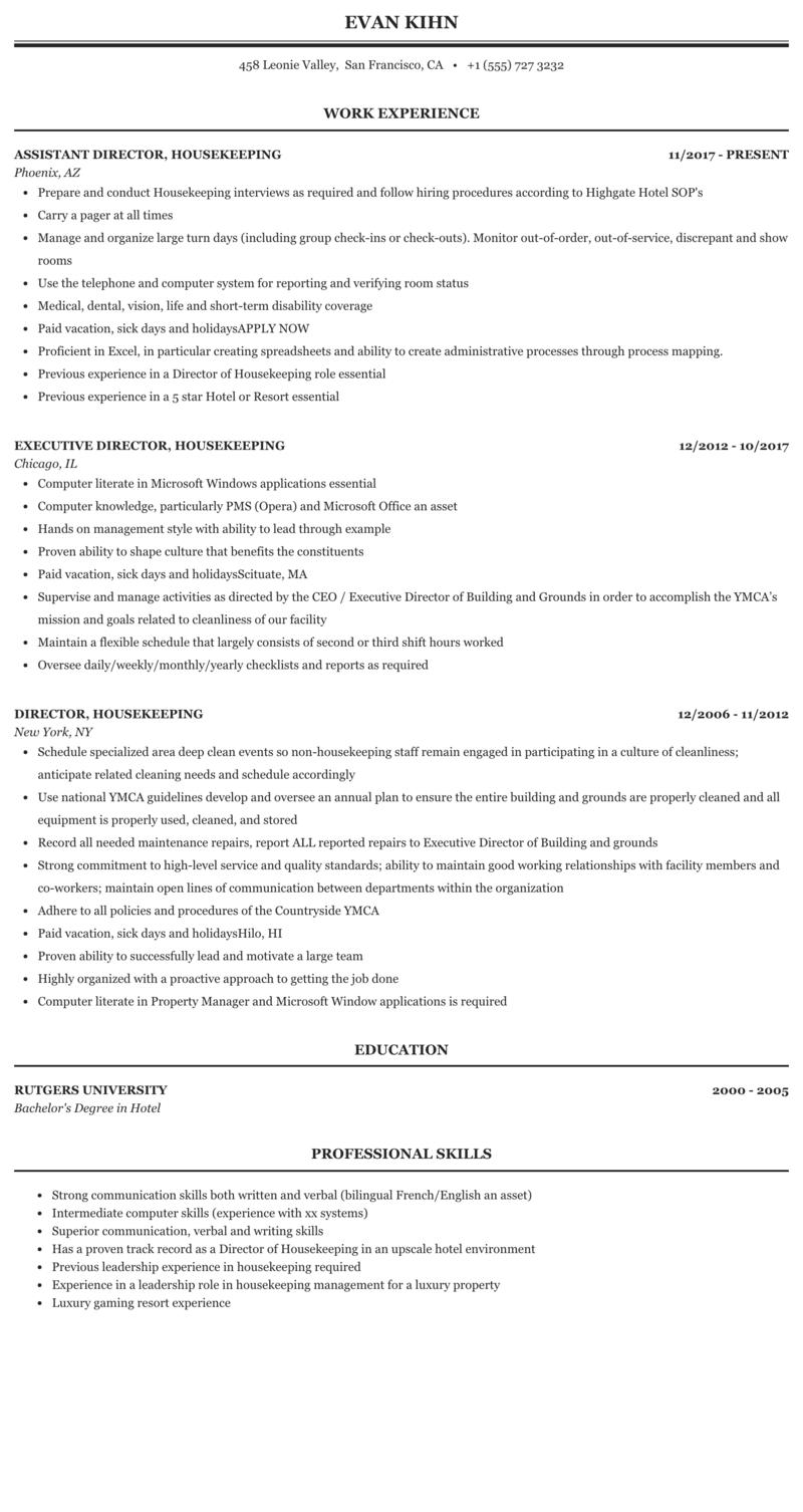 Director, Housekeeping Resume Sample | MintResume