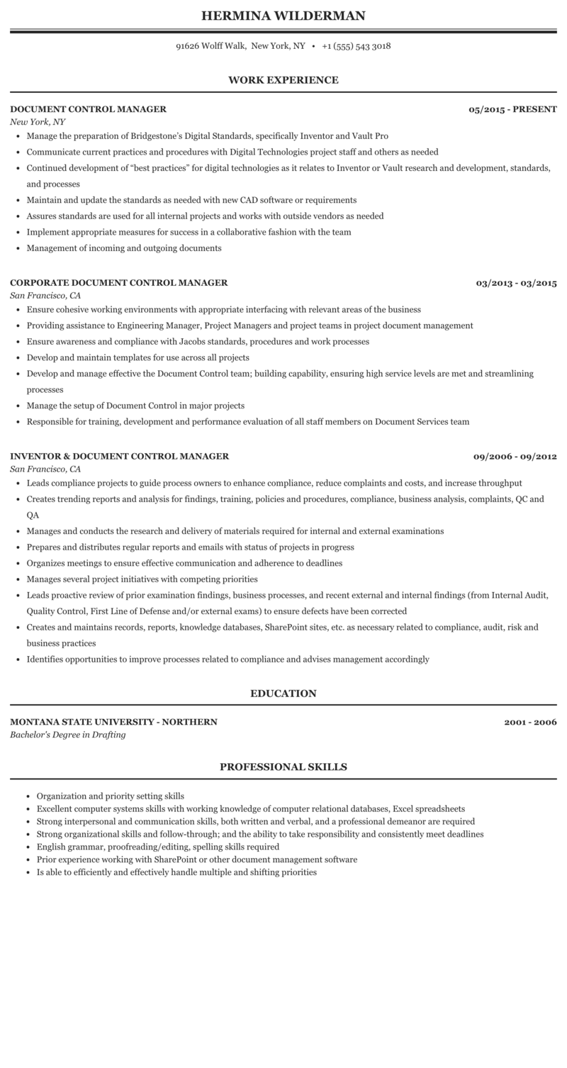 Document controller manager resume e marketing phd thesis