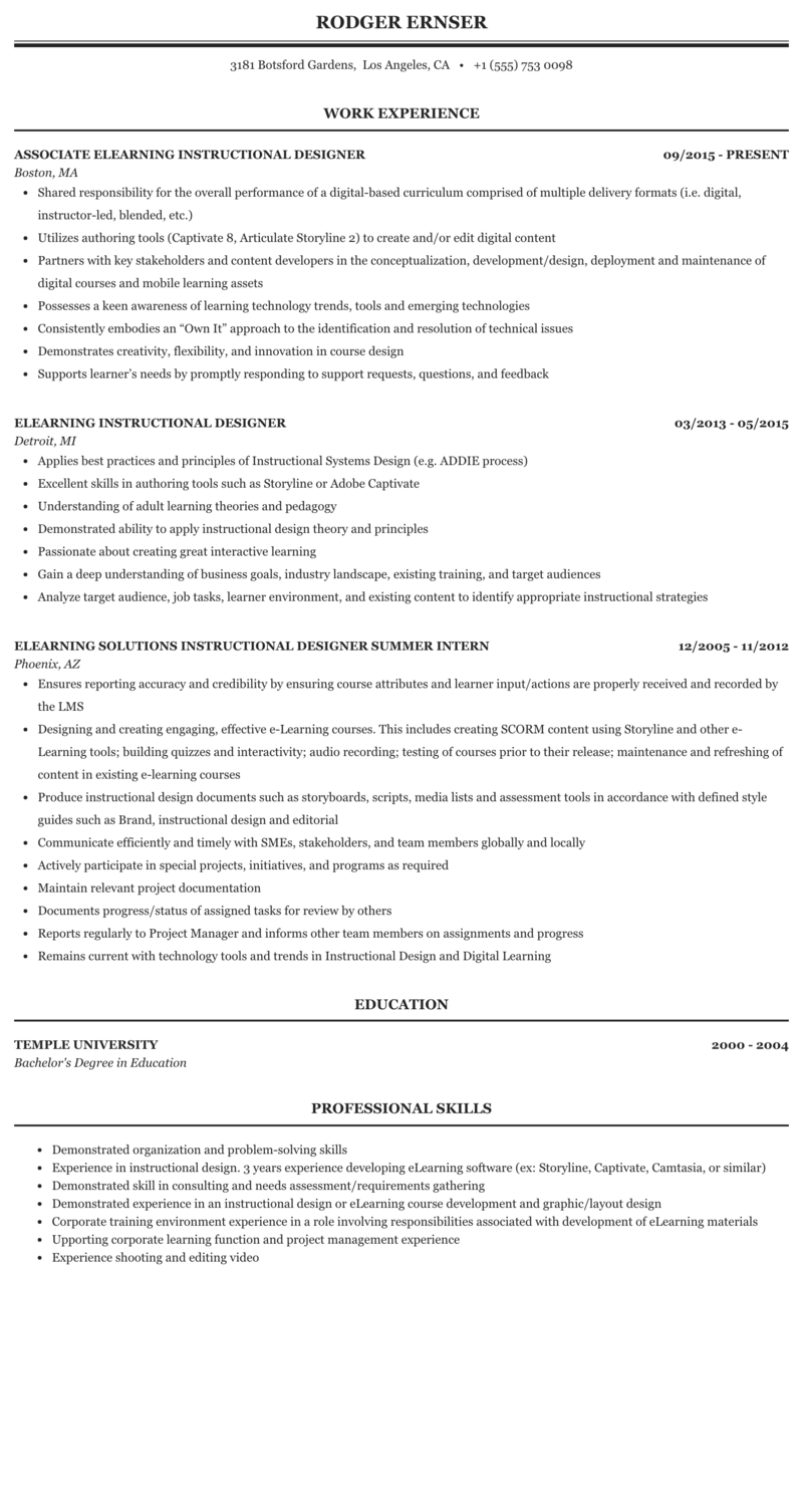 Elearning Designer Resume Sample Mintresume