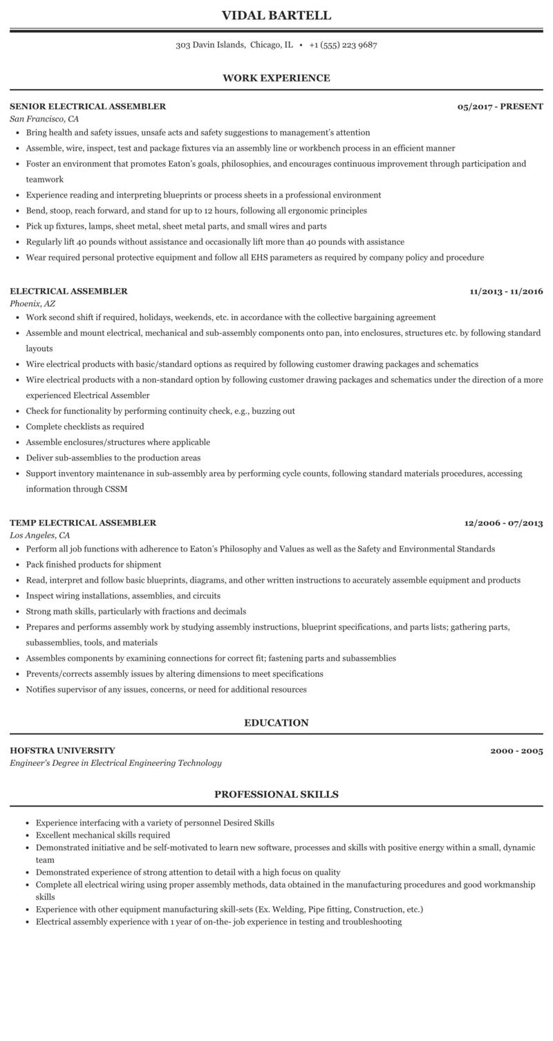 electrical assembler resume sample mintresume