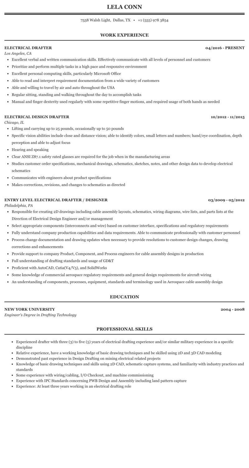 autocad draftsman resume sample  download autocad