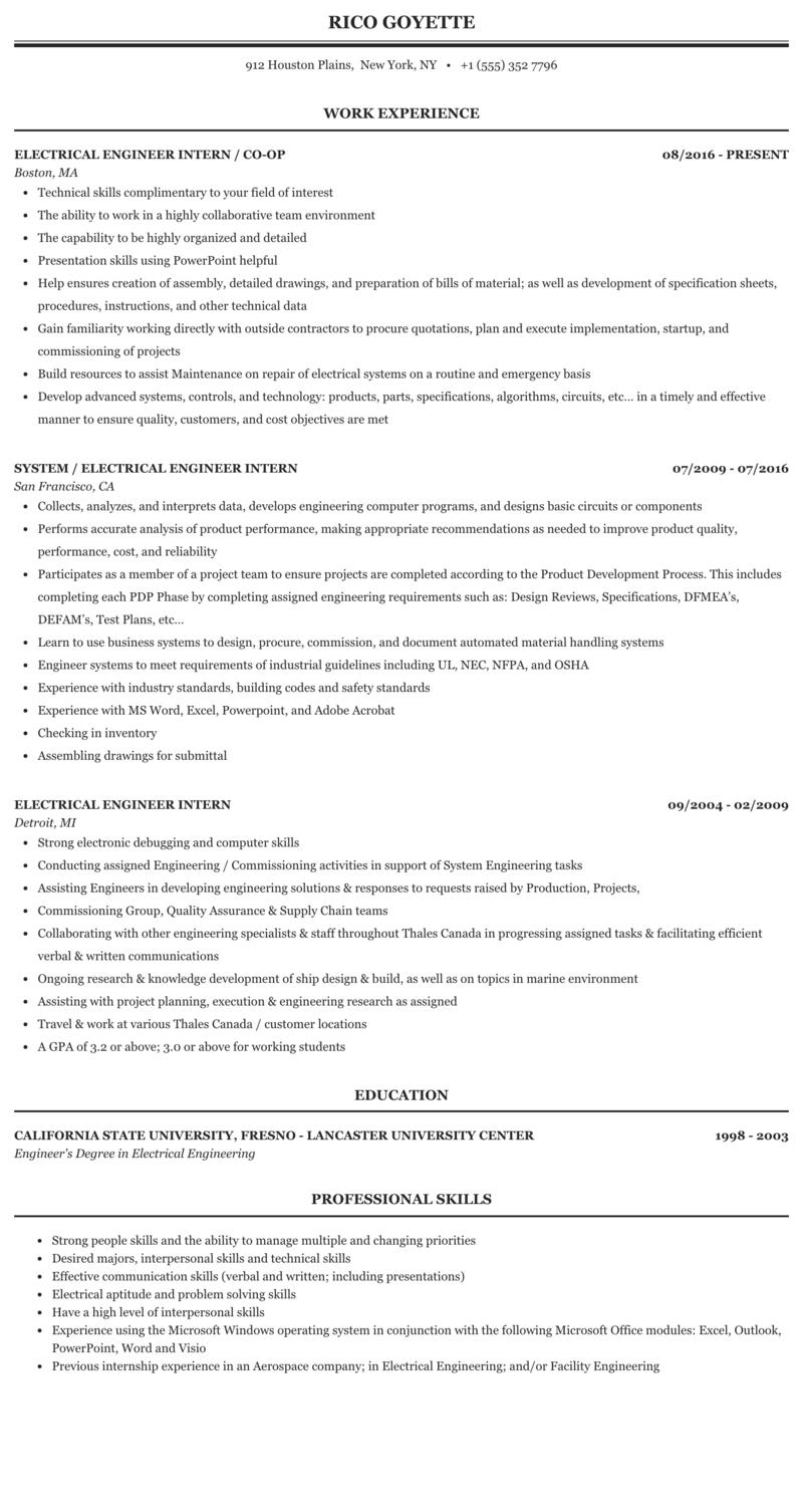 Electrical Engineer Intern Resume Sample Mintresume