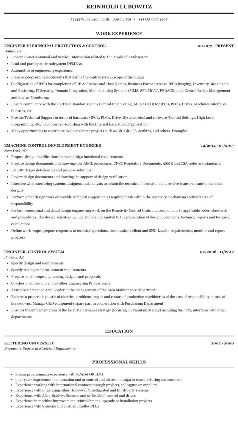 Engineer, Control Resume Sample | MintResume