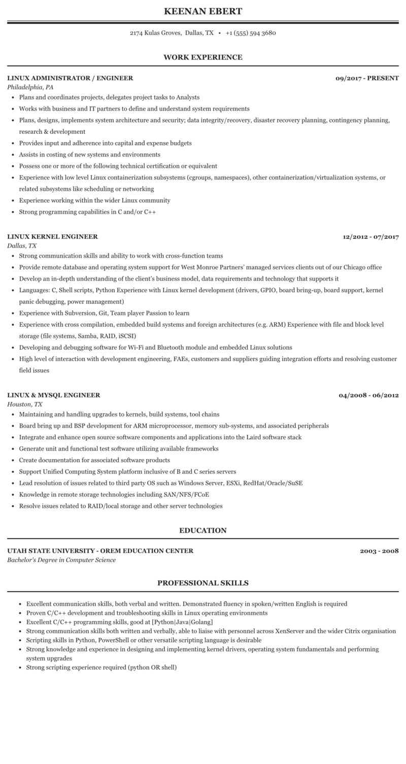 Engineer, Linux Resume Sample | MintResume