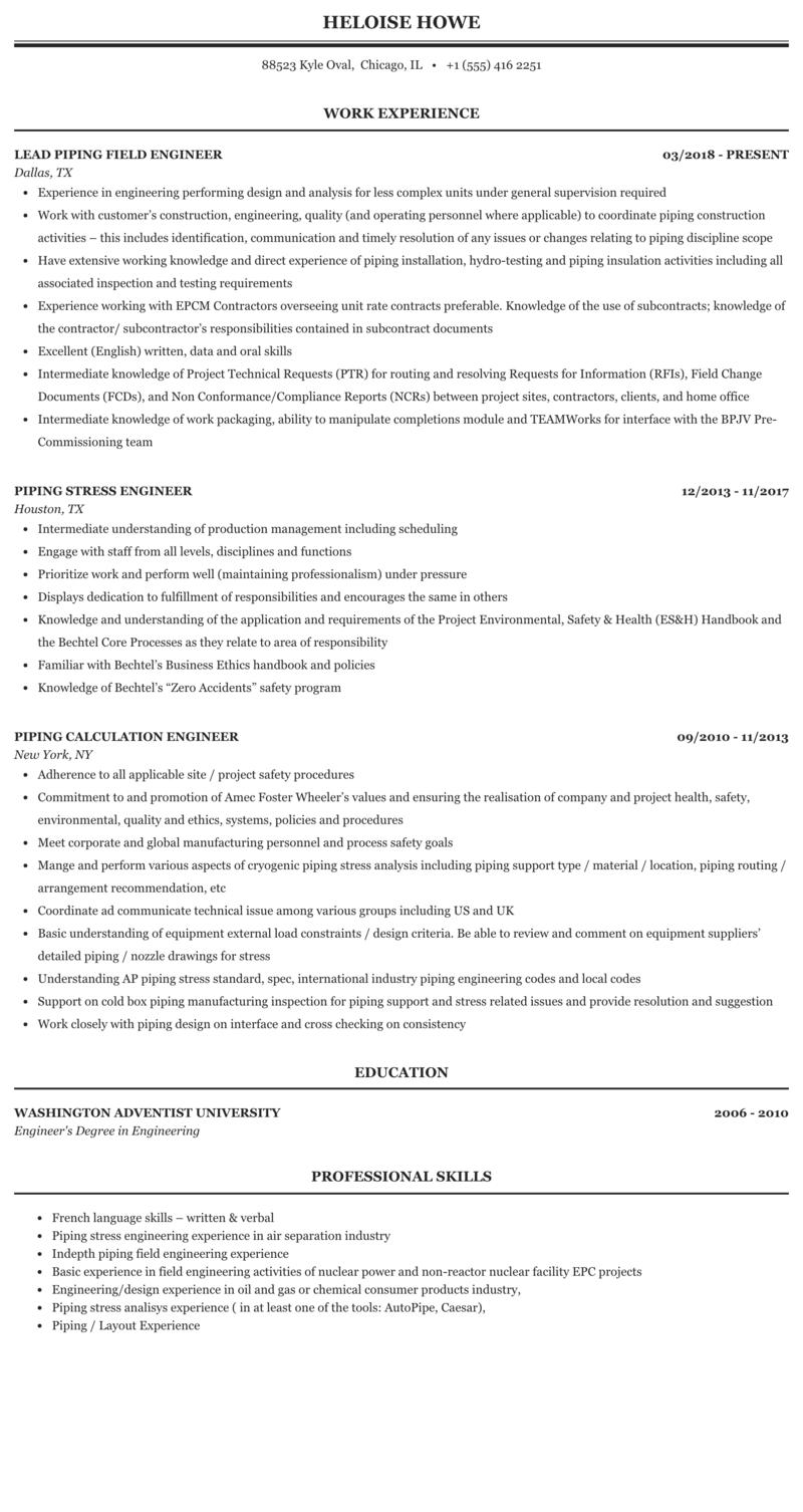 piping layout engineer resume engineer piping resume sample mintresume  engineer piping resume sample mintresume