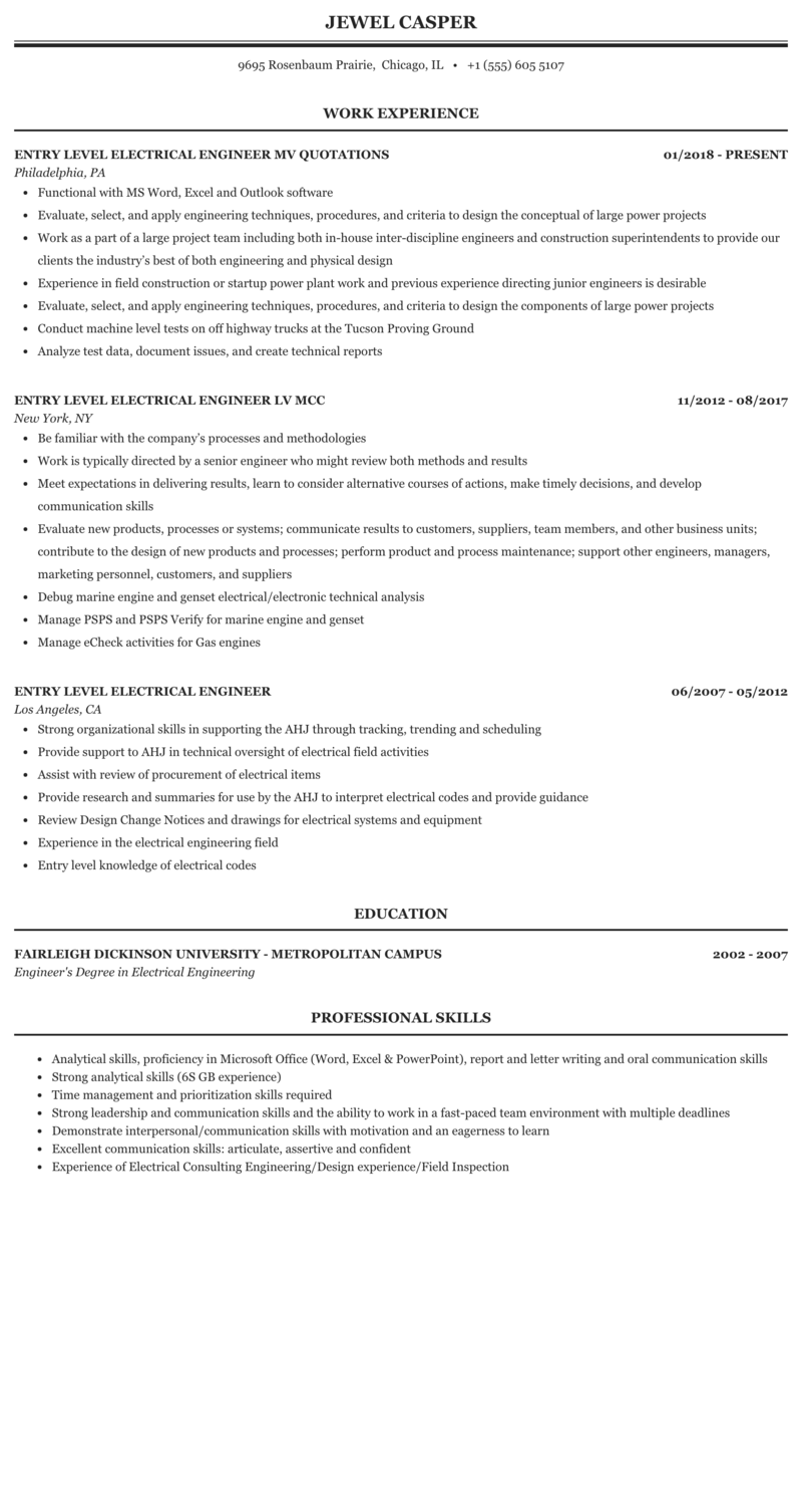 Entry Level Electrical Engineer Resume Sample Mintresume
