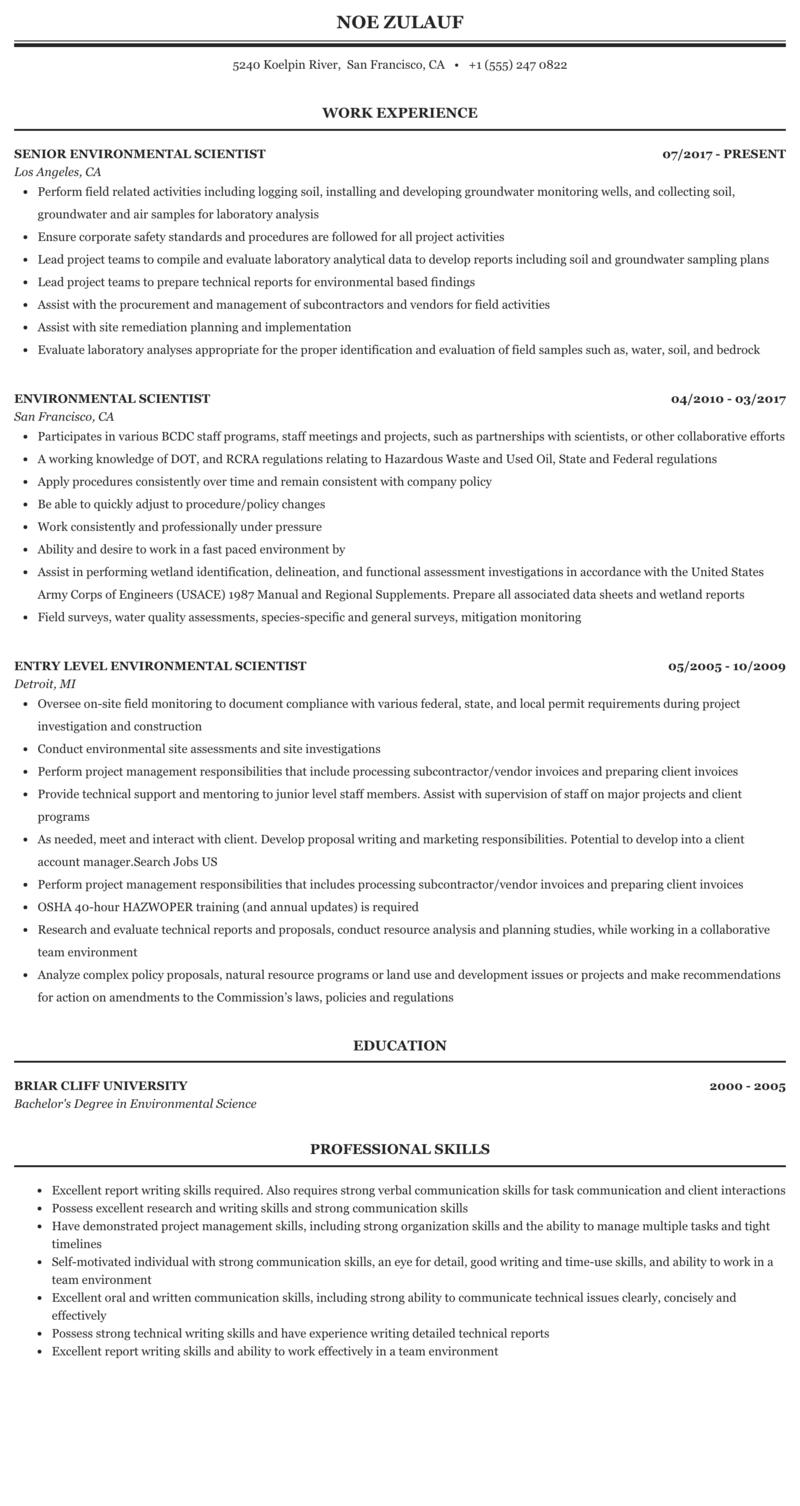 Write environmental science resume meth essay