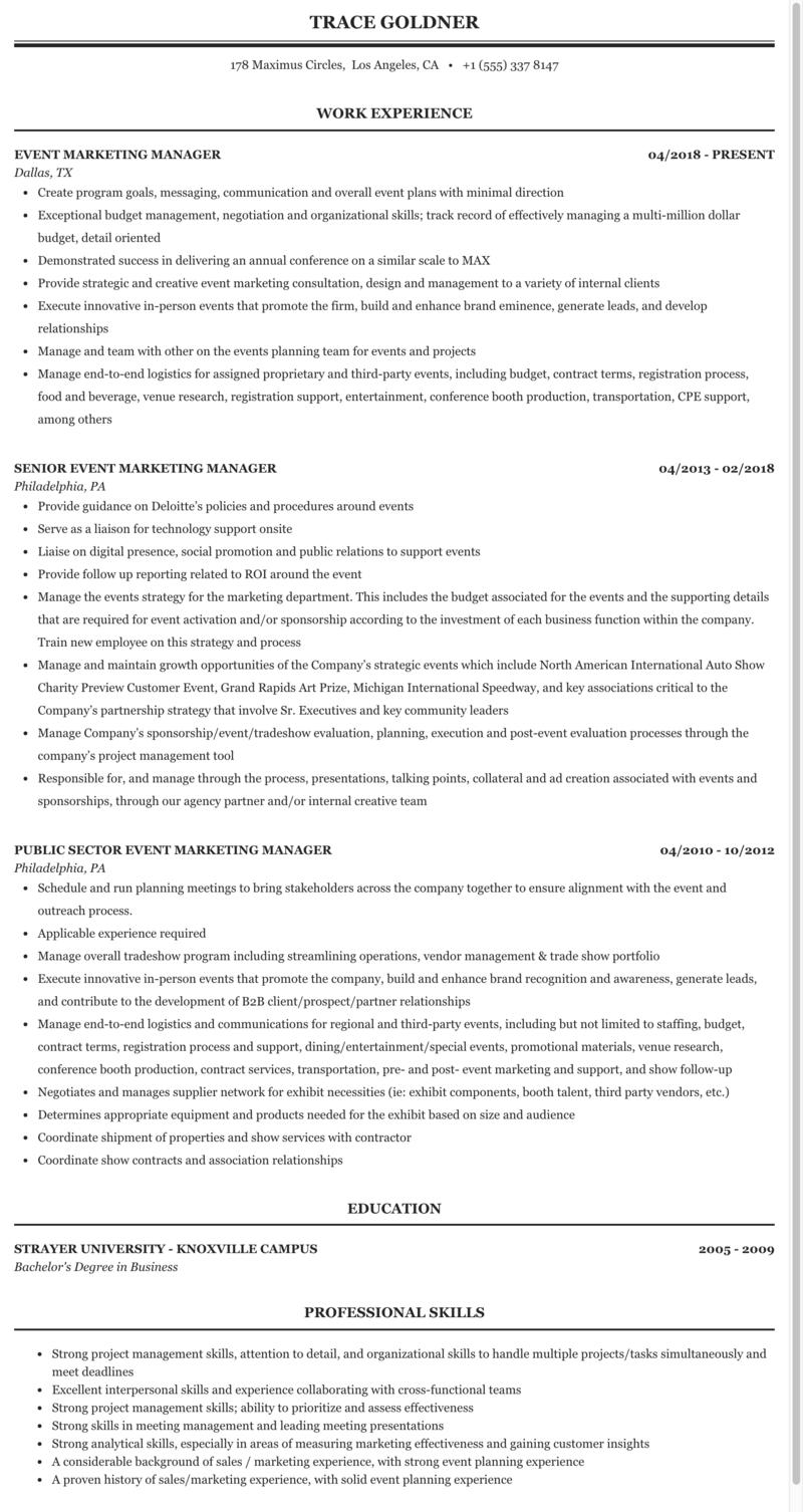 Event Marketing Manager Resume Sample Mintresume