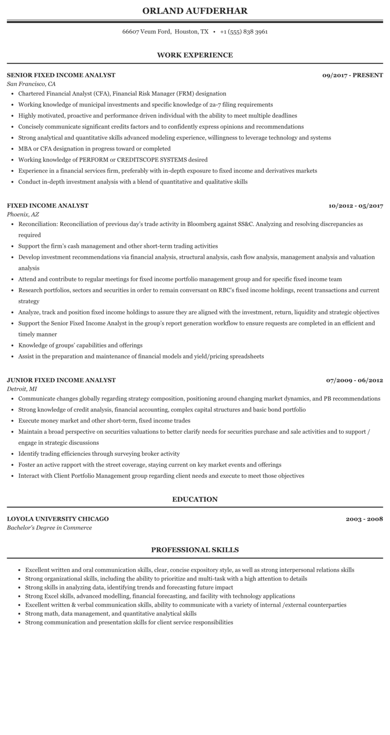 fixed income risk analyst resume