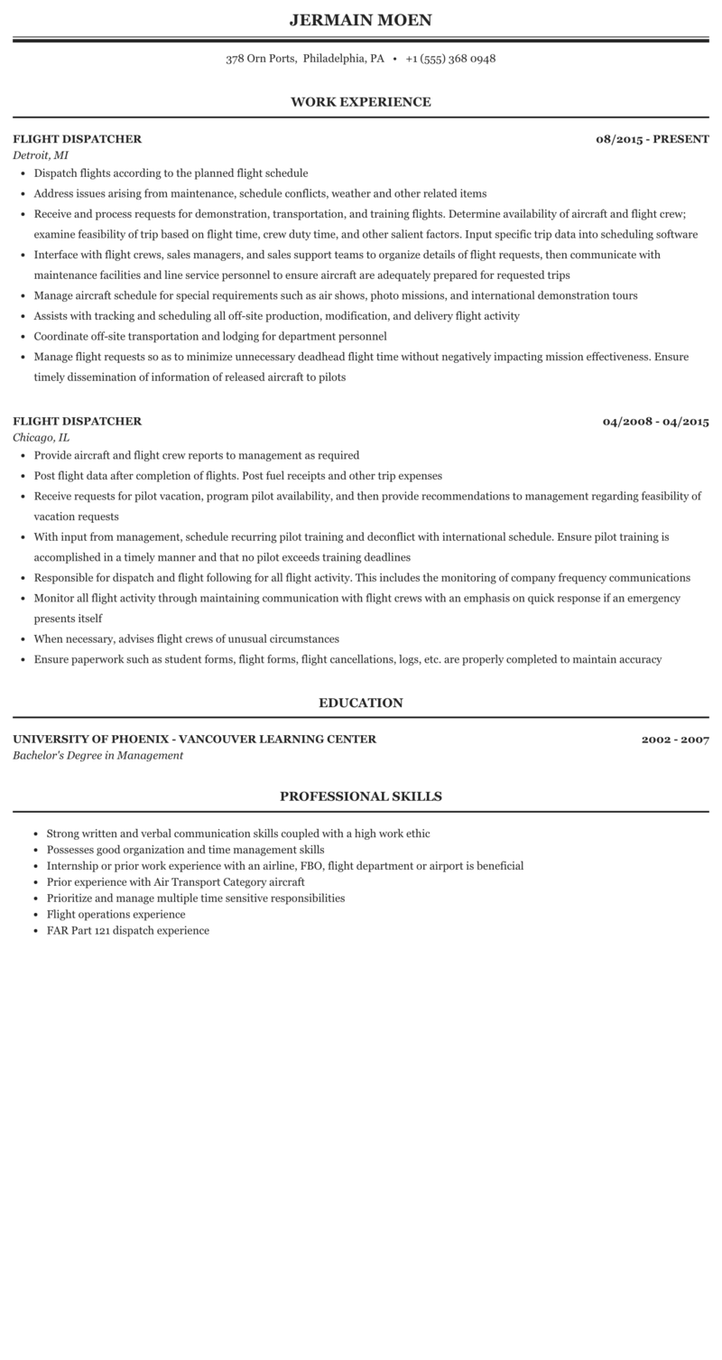 Sample resume for flight dispatcher how to write an about page