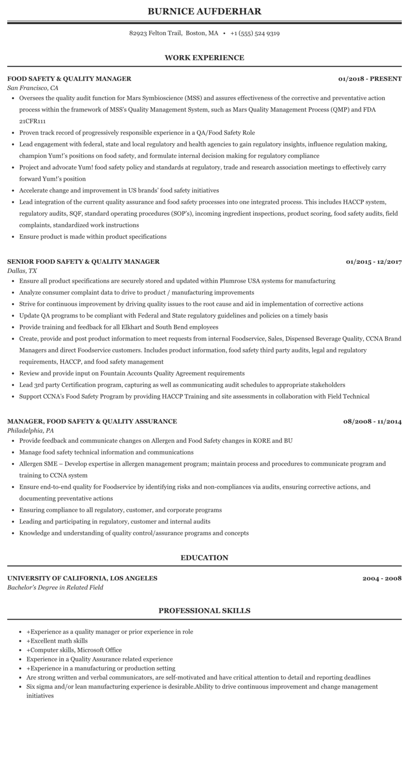 Food quality supervisor resume custom thesis proposal ghostwriting site for university