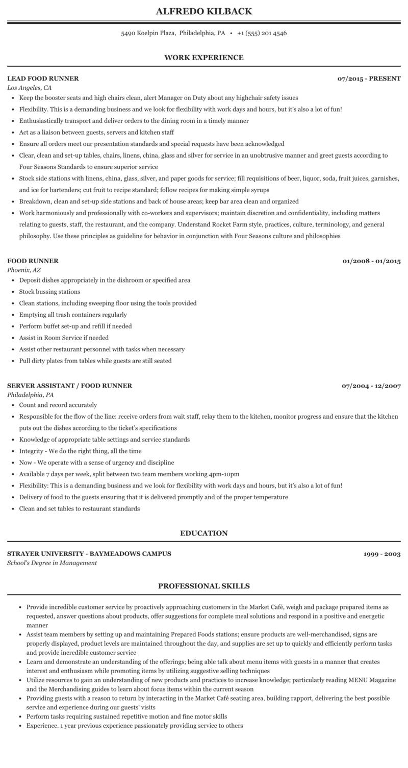 Food running resume ethos thesis online
