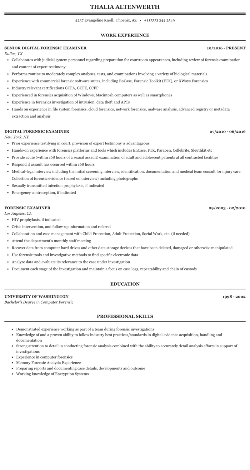 Forensic Examiner Resume Sample Mintresume