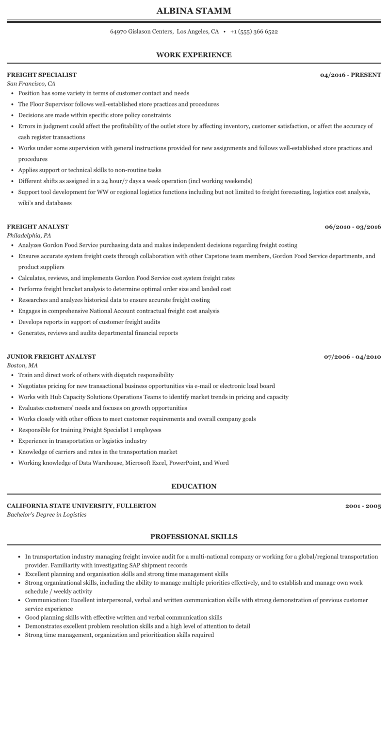 Freight auditor resume how to write life in chinese