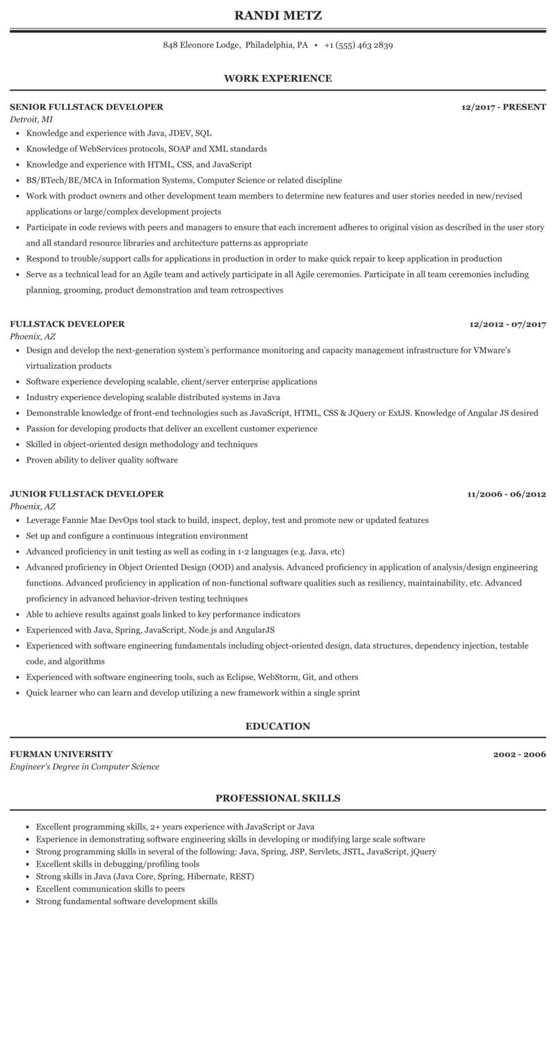 Fullstack Developer Resume Sample Mintresume