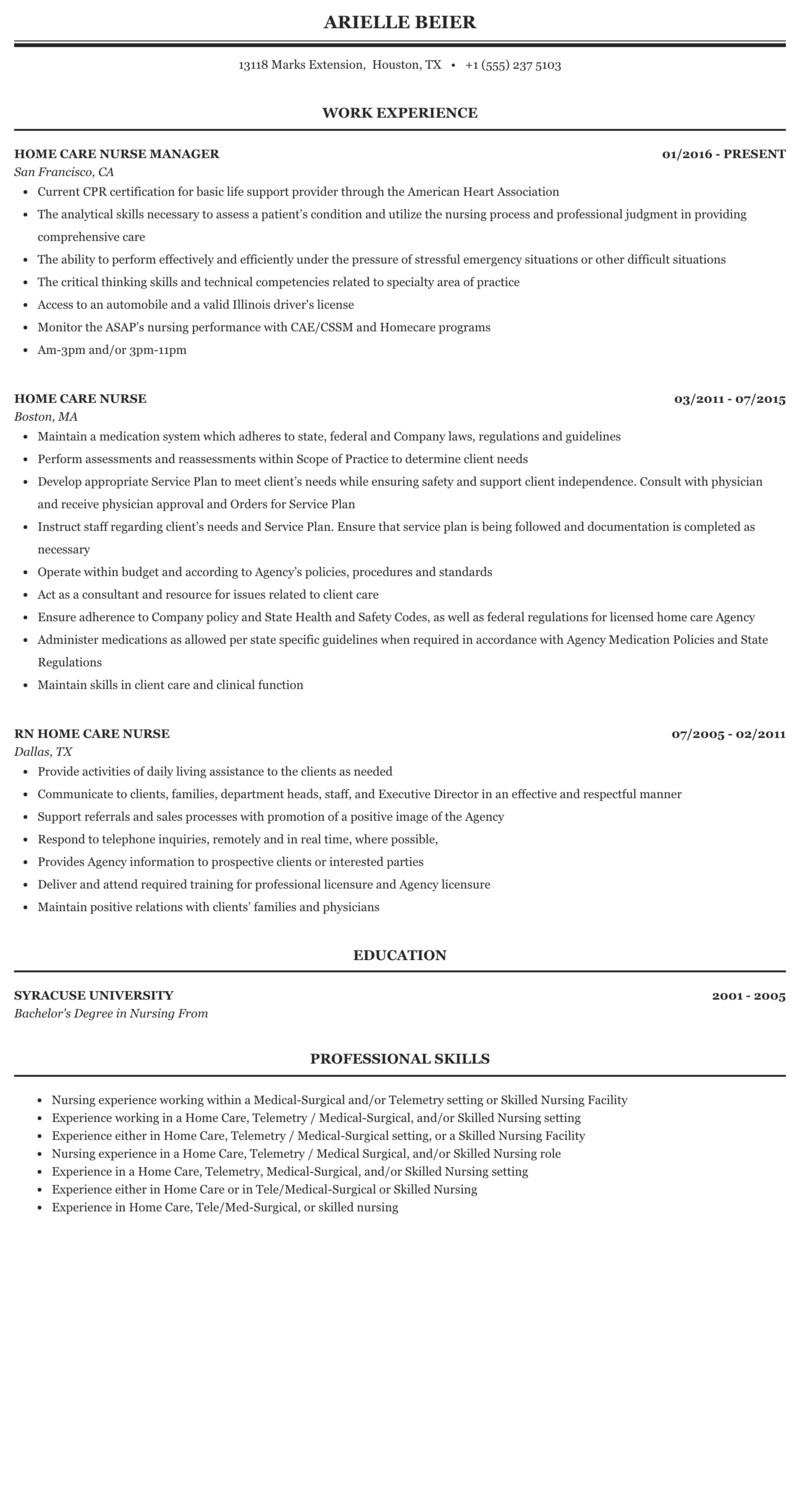 home health rn resume example