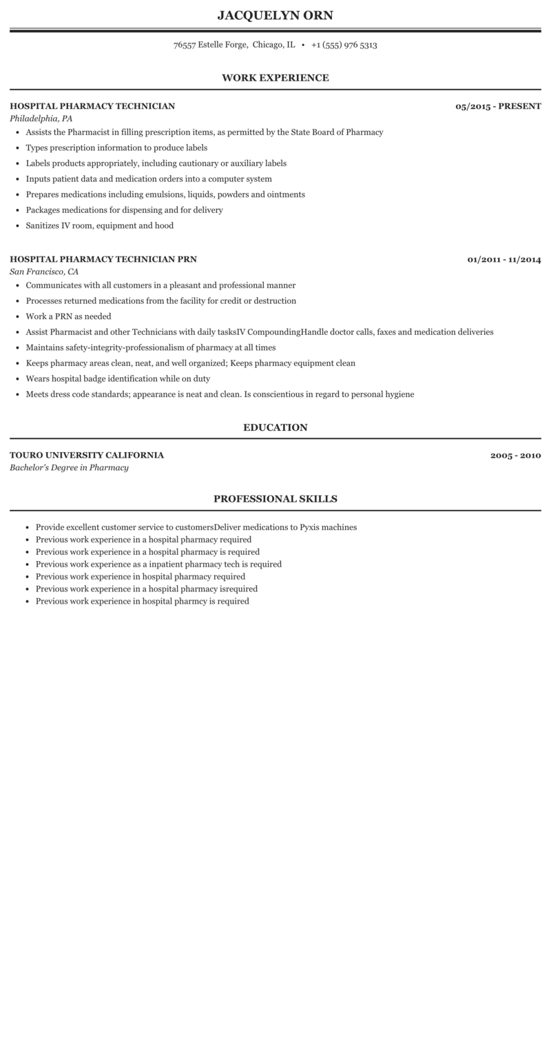 Hospital Pharmacy Technician Resume Sample Mintresume
