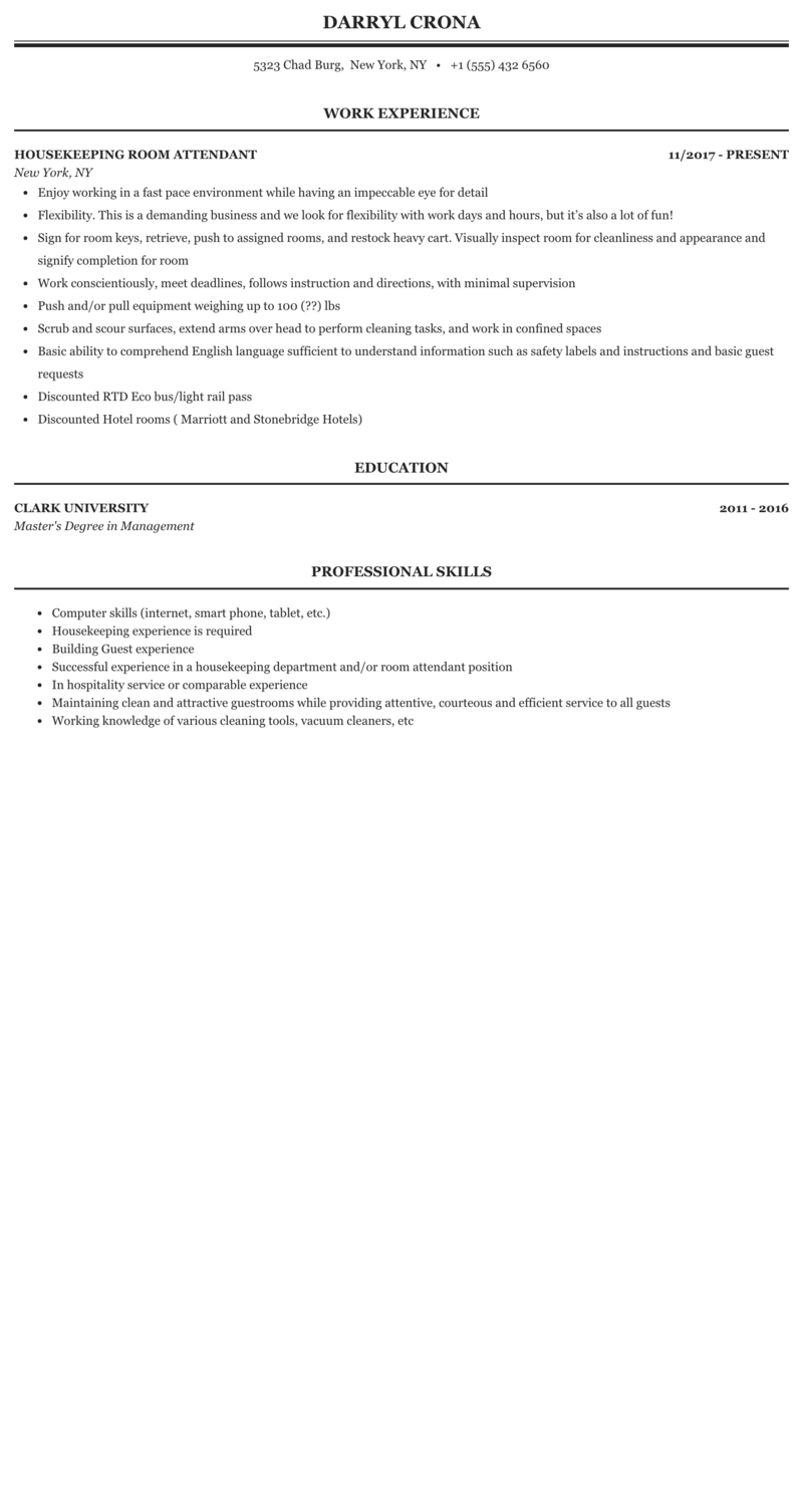 Sample resume of housekeeping attendant esl research proposal ghostwriters for hire