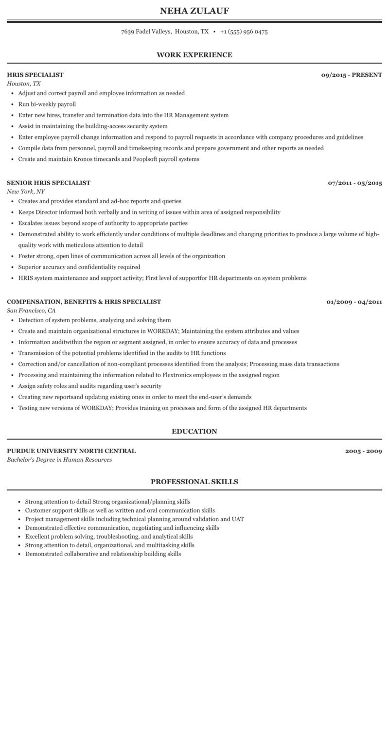 Hris Specialist Resume Sample Mintresume