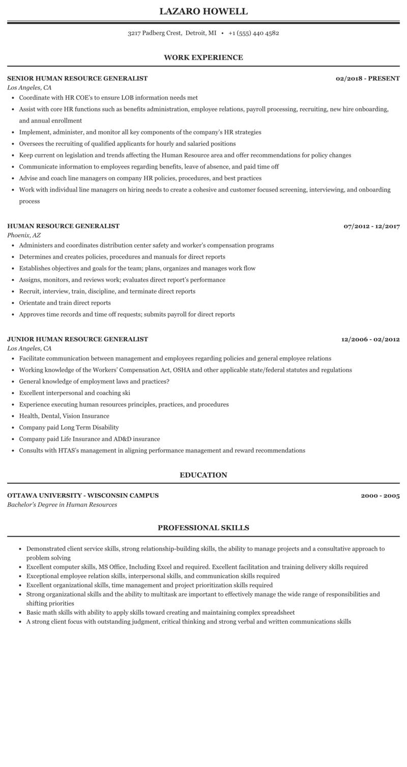 Sample hr generalist resume india professional resume font