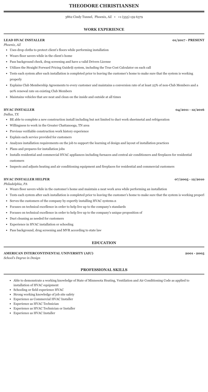 Hvac Installer Resume Sample | MintResume
