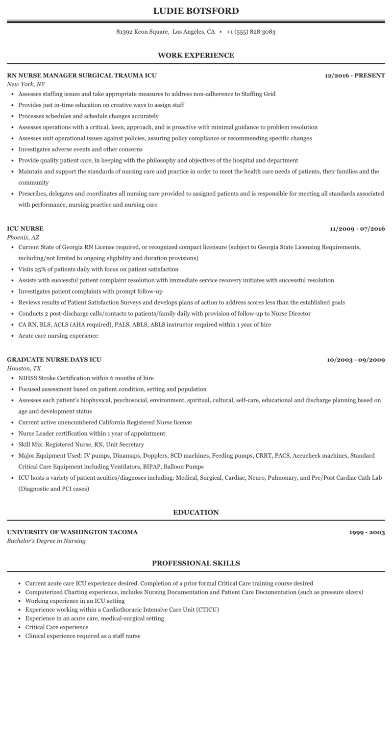 ICU Nurse Resume Sample | MintResume