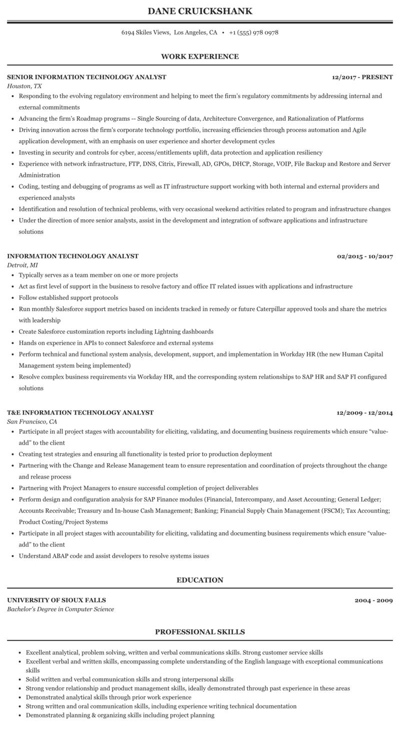 Information Technology Analyst Resume Sample | MintResume