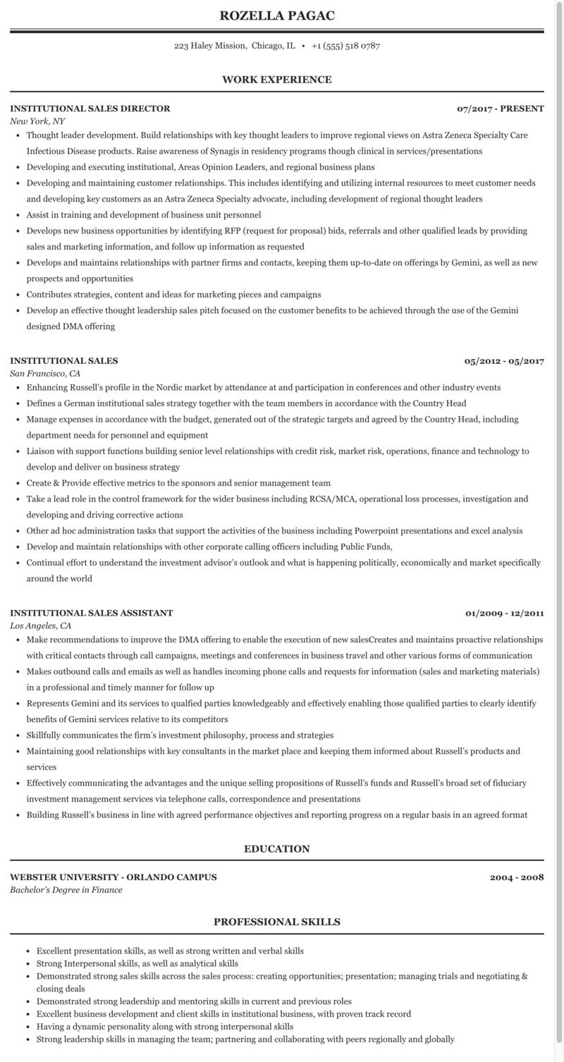 Institutional Sales Resume Sample Mintresume