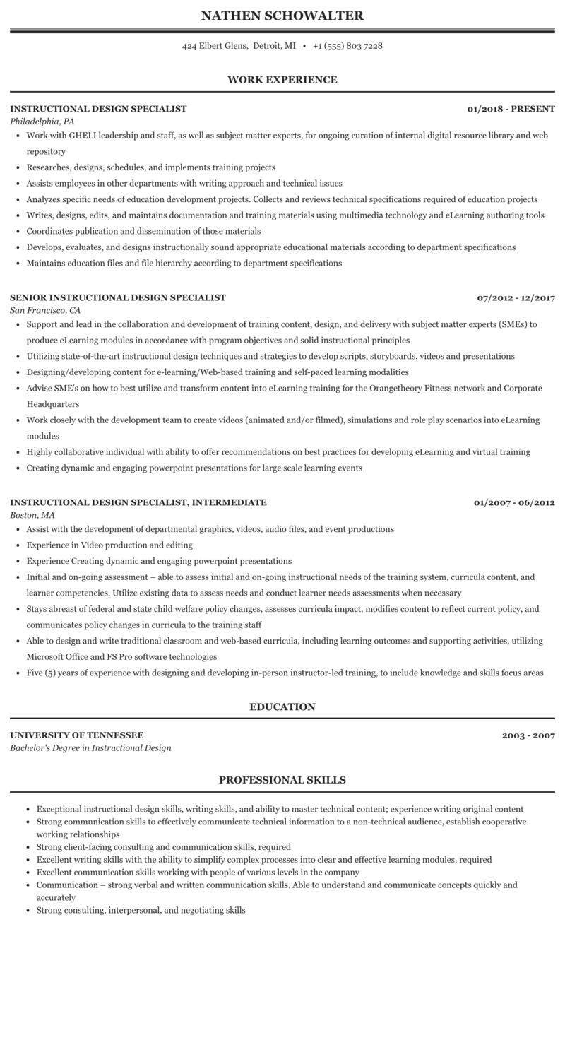Instructional Design Specialist Resume Sample Mintresume