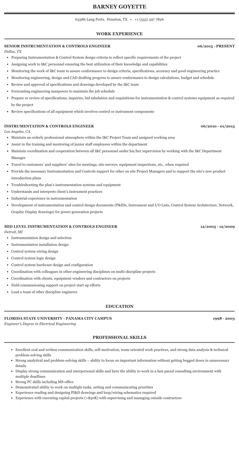 Instrumentation Controls Engineer Resume Sample Mintresume