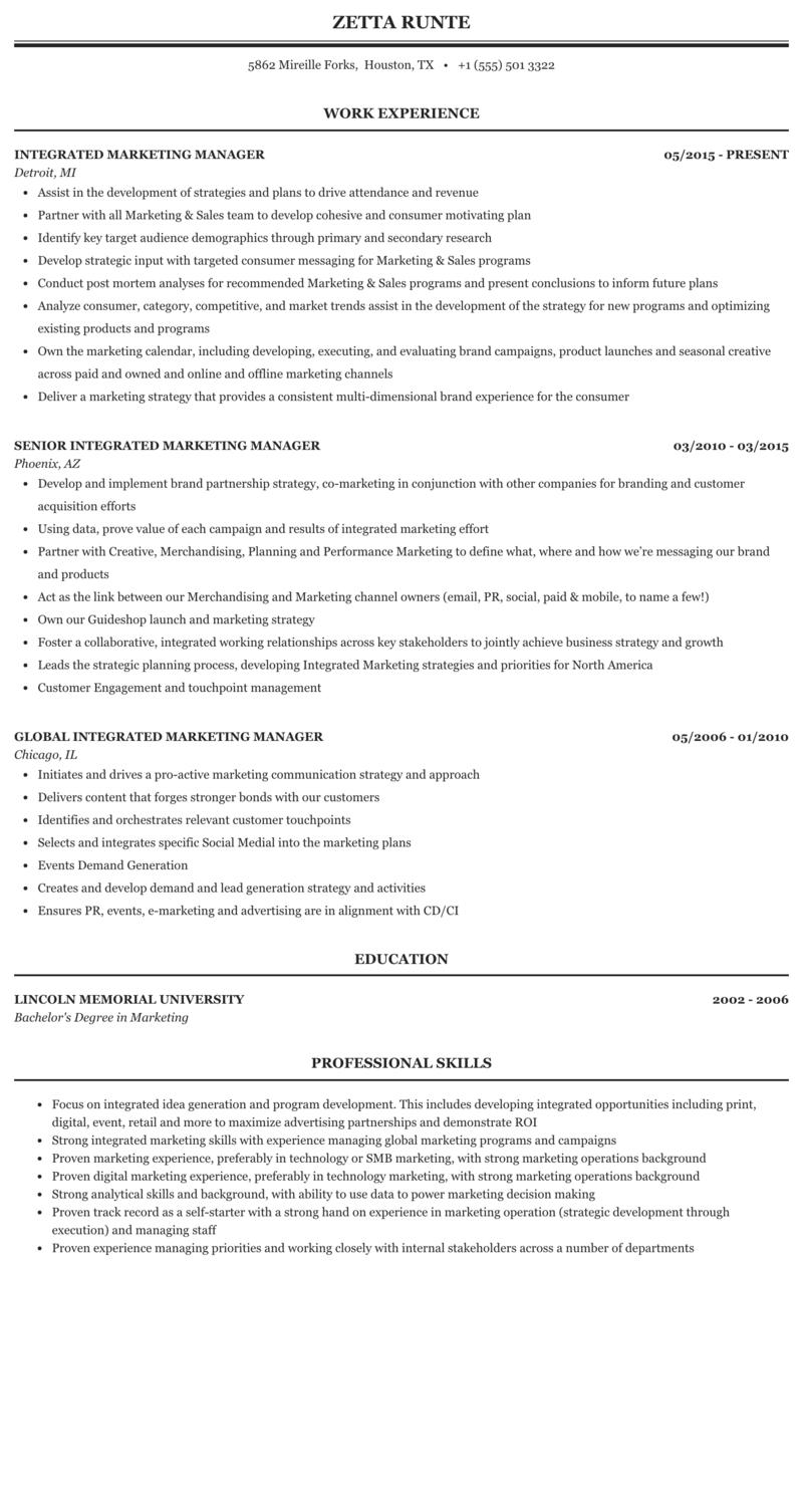 Integrated Marketing Manager Resume Sample Mintresume
