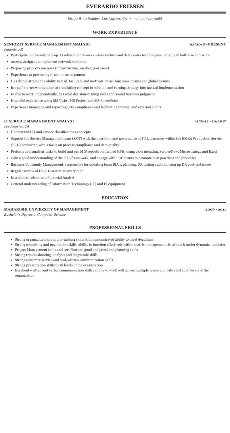 It Service Management Analyst Resume Sample Mintresume