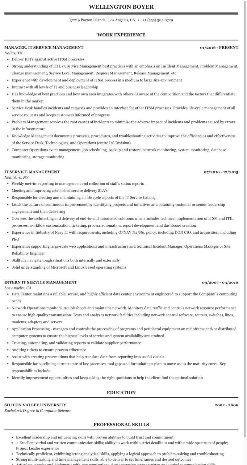 It Service Management Resume Sample Mintresume
