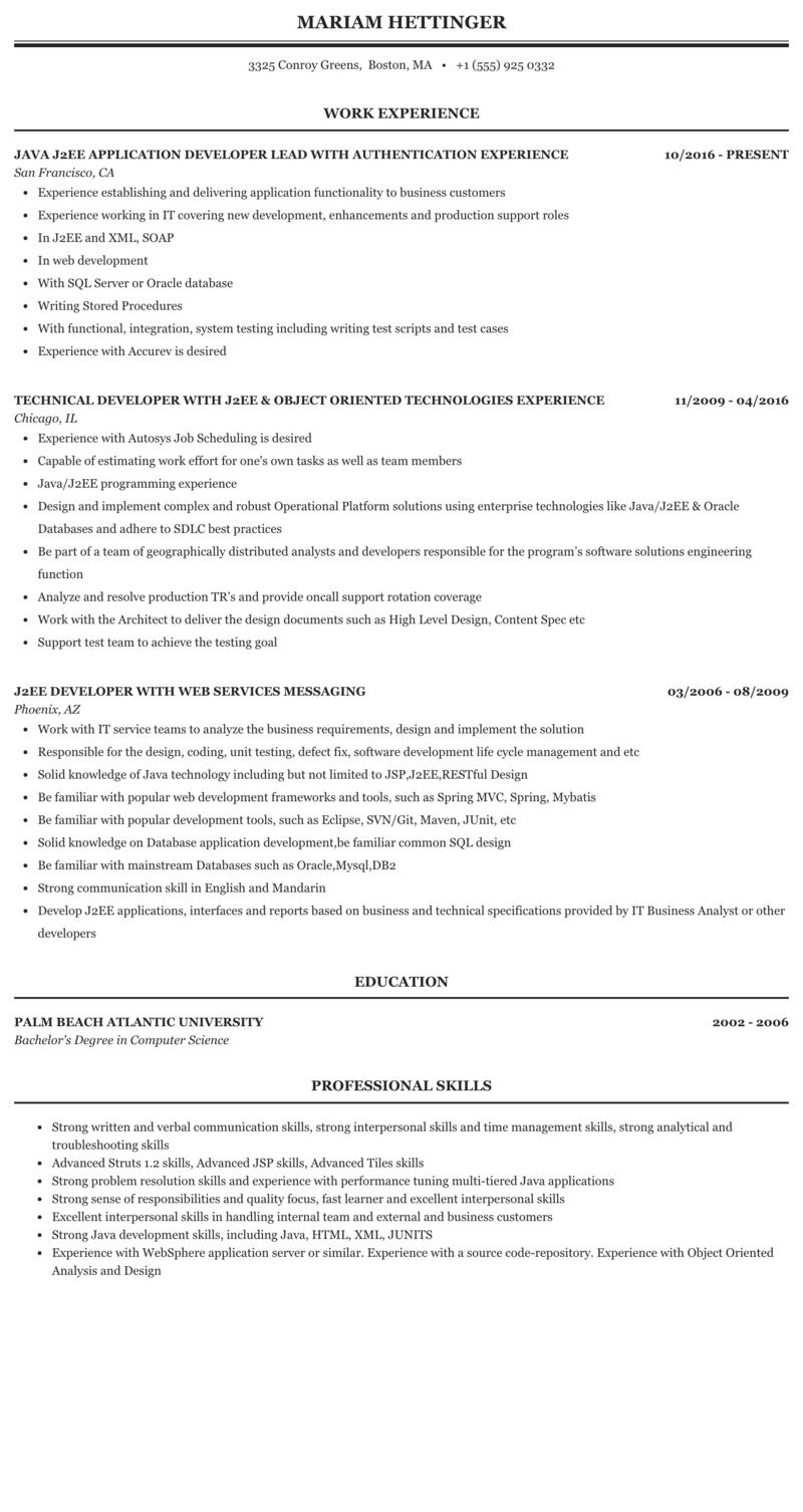 Illinois j2ee resume help me write professional problem solving online