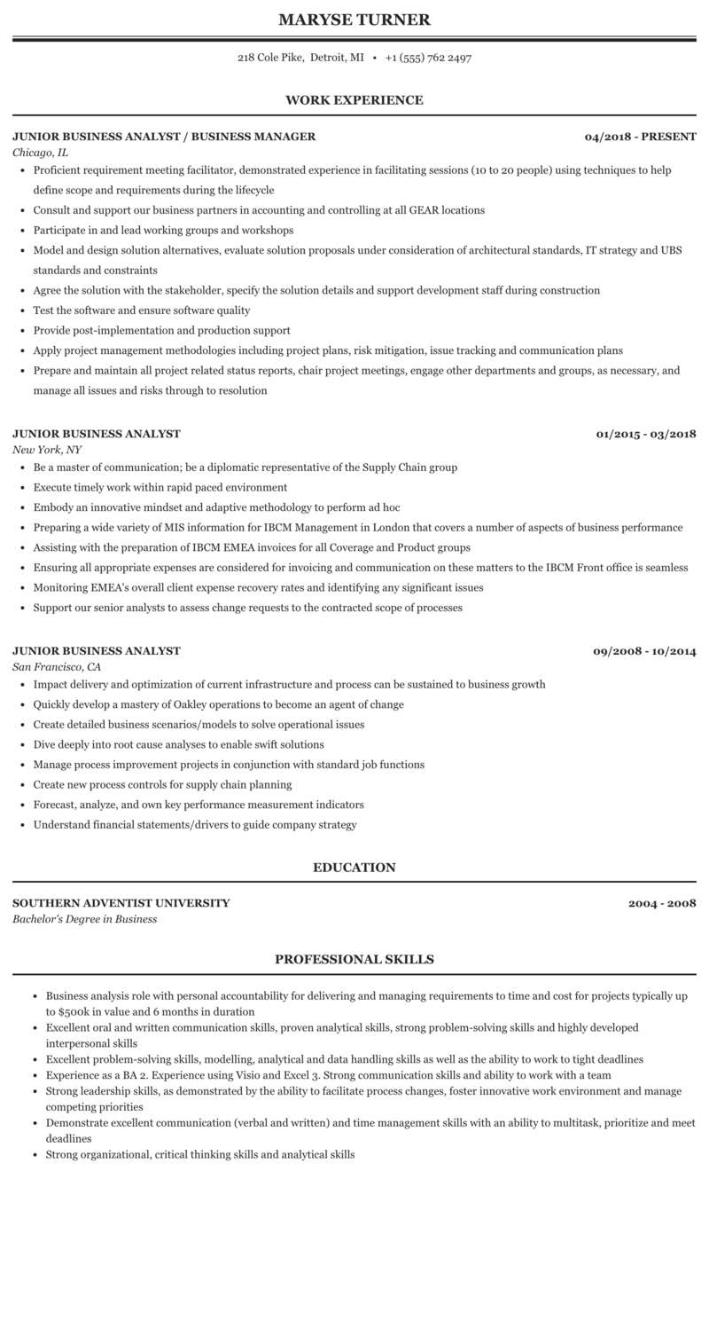 get 44 11 junior business analyst cv template pictures