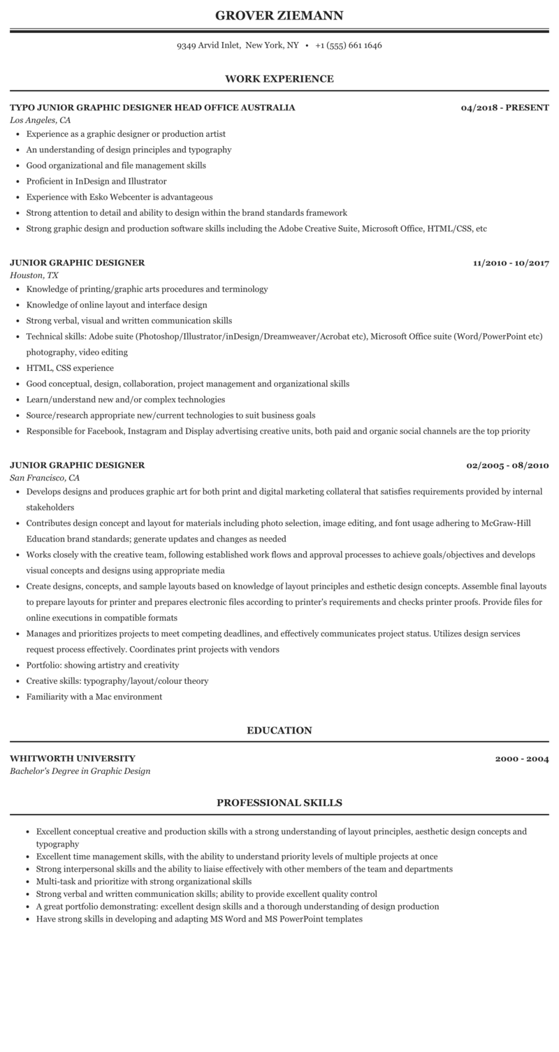 Junior Graphic Designer Resume Sample Mintresume