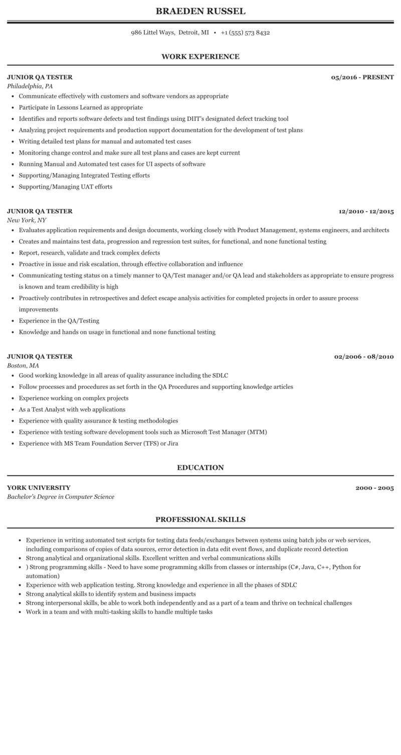 Junior Qa Tester Resume Sample Mintresume