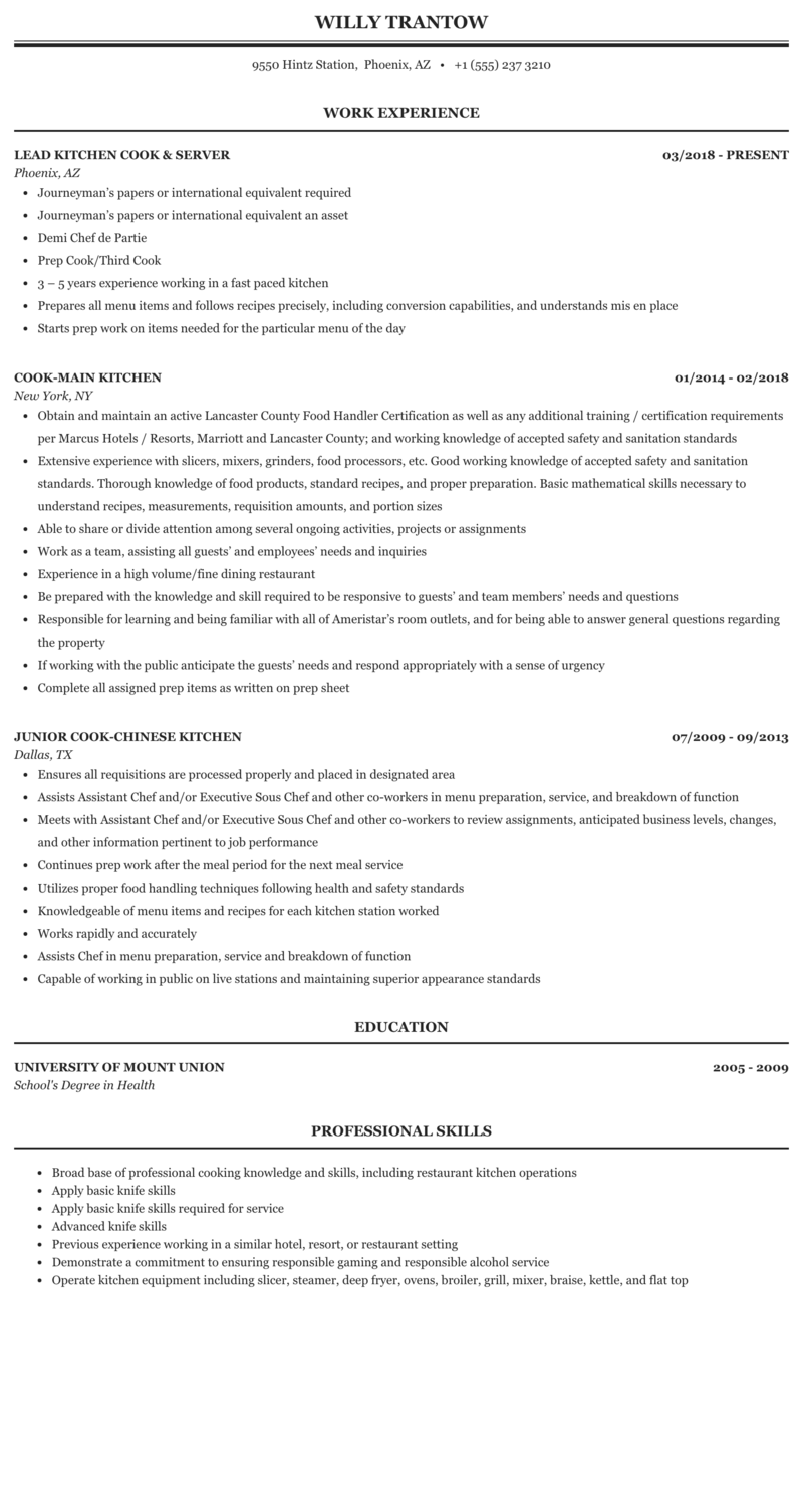 Kitchen Cook Resume Sample Mintresume