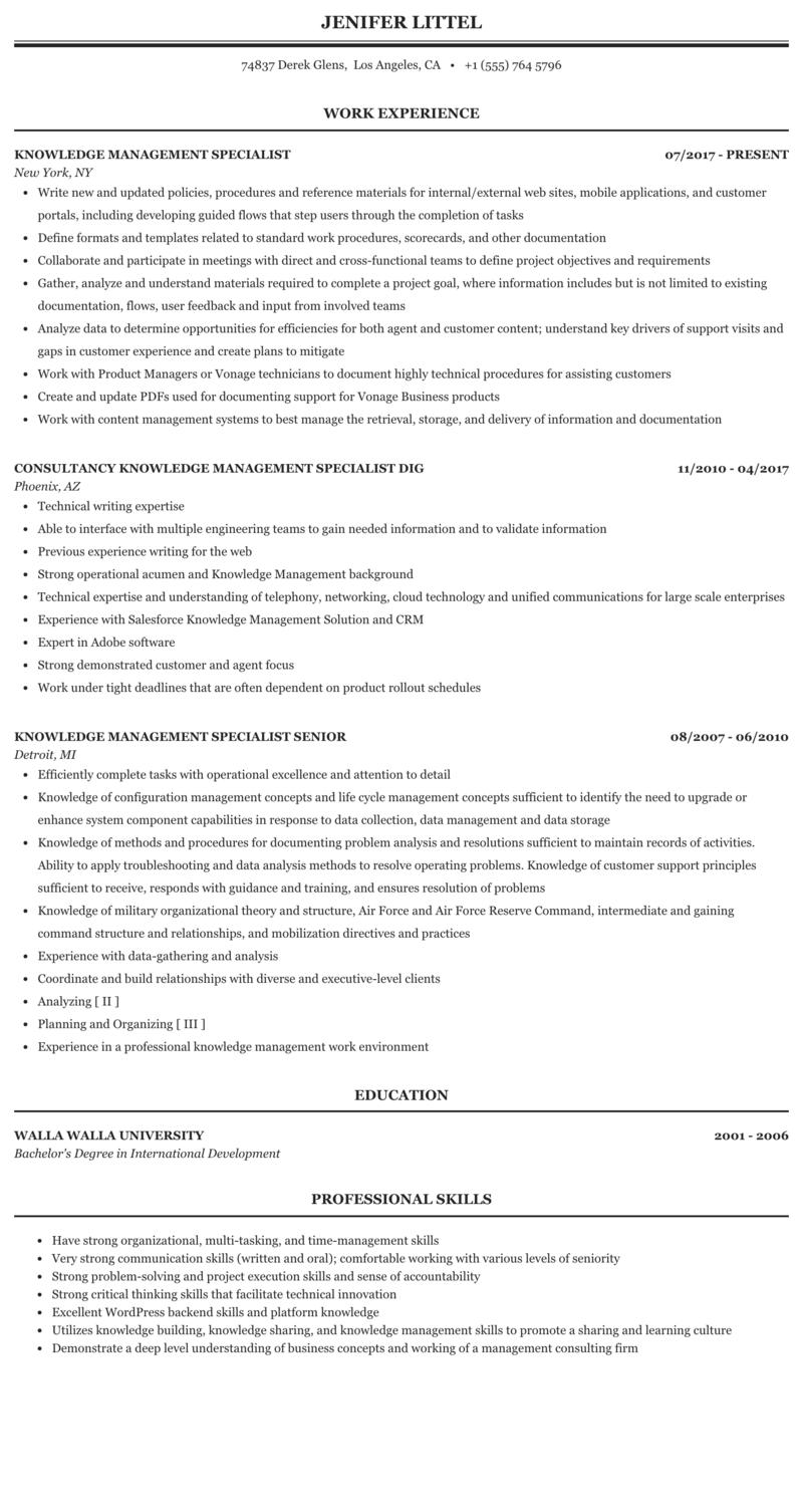 Knowledge Management Specialist Resume Sample Mintresume