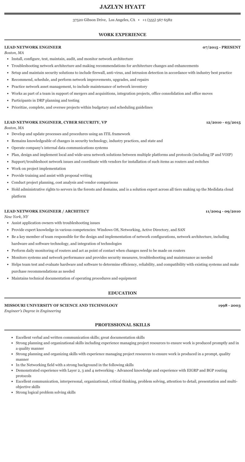 Lead Network Engineer Resume Sample | MintResume