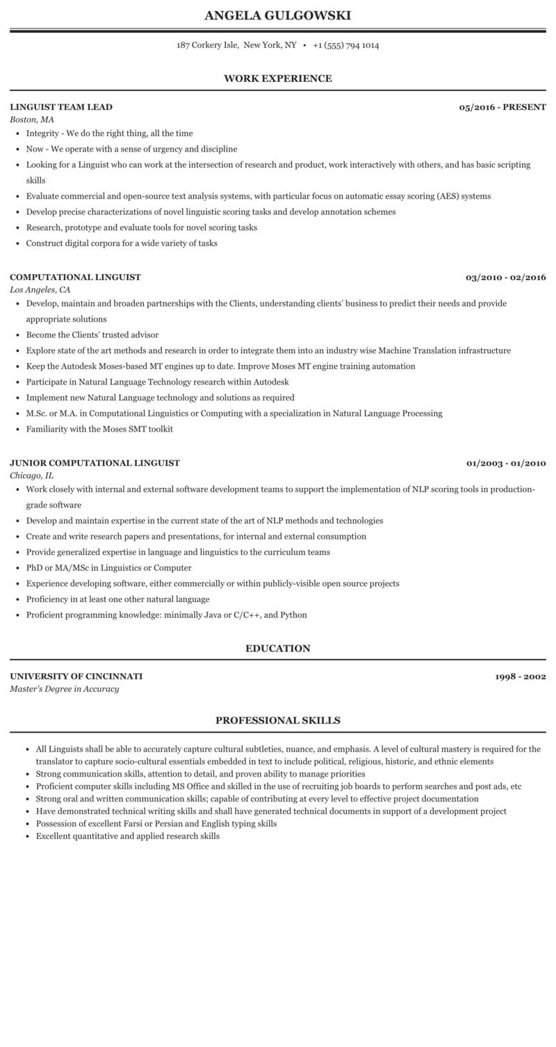 Linguist Resume Sample Mintresume