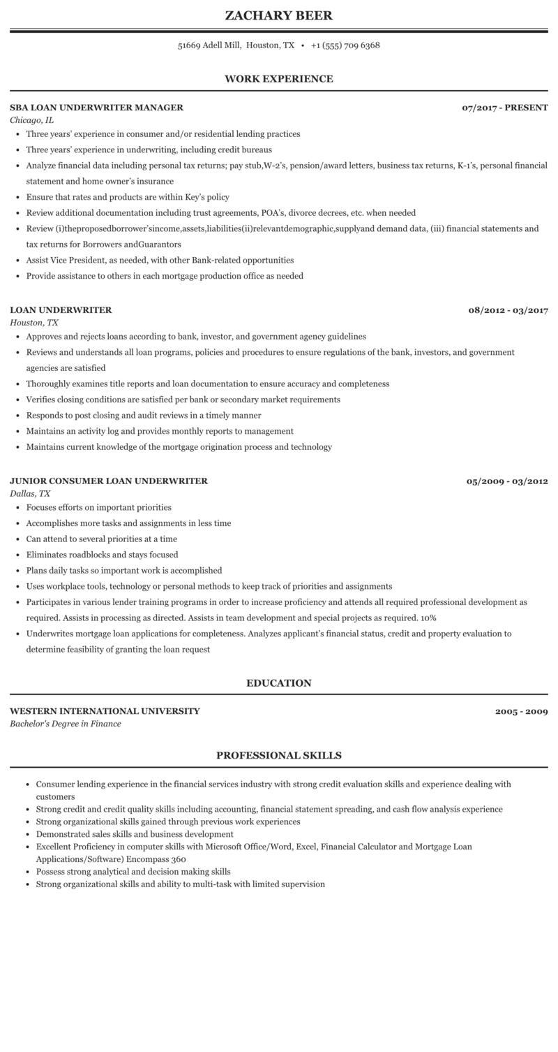 mortgage loan underwriter sample resume