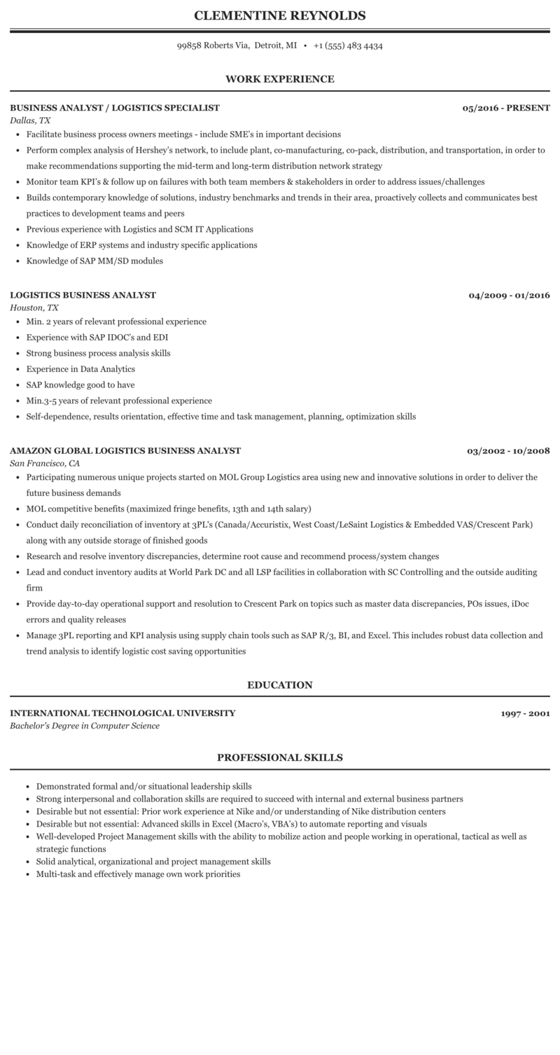 Logistics Business Analyst Resume Sample Mintresume