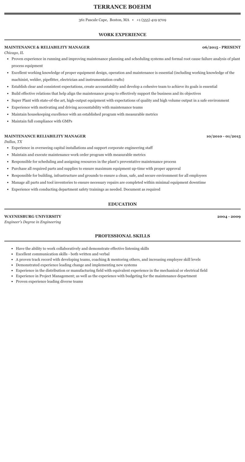 Reliability manager resume custom scholarship essay ghostwriters service us