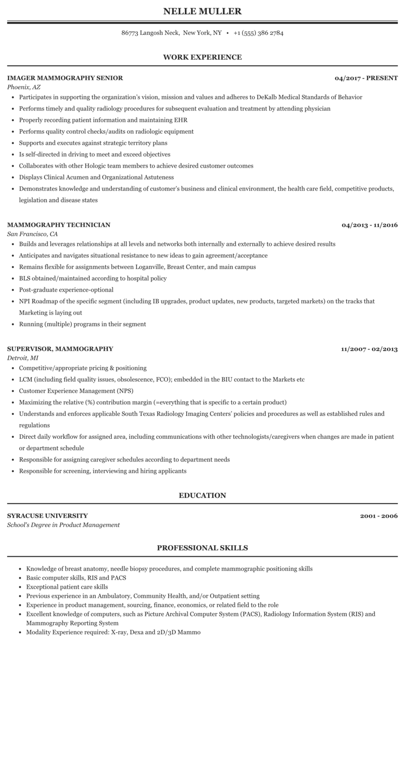 Mammography Resume Sample Mintresume
