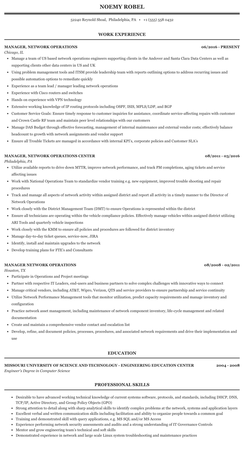 Manager, Network Operations Resume Sample | MintResume
